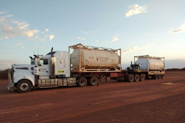 chemical tanker driving in outback western australia